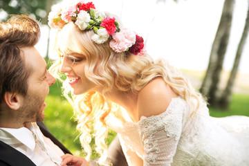 Marriage couple during the honeymon