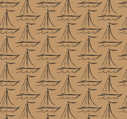 pattern sailboat simple doodle charcoal