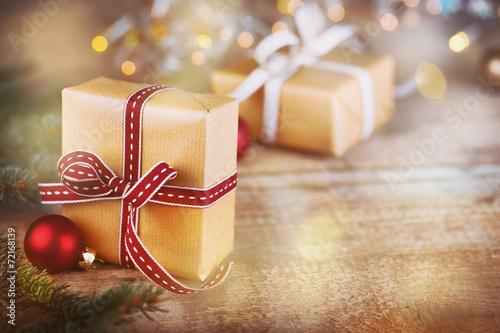 Leinwanddruck Bild Weihnachtsgeschenke - Hintergrund mit Copyspace - Retro Vintage