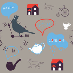 grey day in London seamless pattern