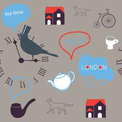 grey day in London seamless pattern