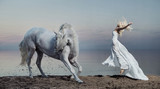 Art photo of the woman with strong horse - Fine Art prints