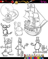 fantasy cartoon set for coloring book
