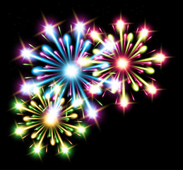 fireworks color stars vector