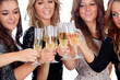 Group of friends toasting with champagne in Christmas