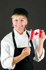 model isolated on white holding canadian flag
