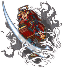 Samurai Slashing Through Background Vector Illustration