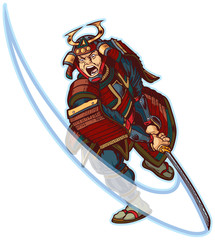 Samurai Slashing Vector Clip Art Illustration