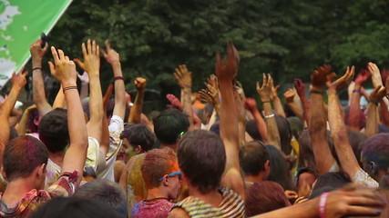 Crowd waving hands in the air, festival atmosphere, dancing