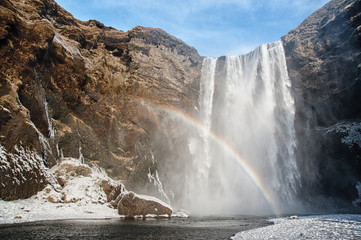 Rainbow shining at Skogafoss waterfall