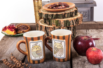two empty cups for tea on retro wooden table