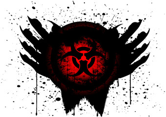 biohazard symbol on circle and hand isolate