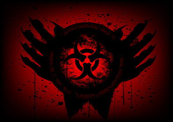 biohazard symbol on circle and hand abstract background