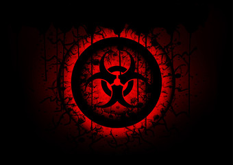 biohazard symbol on circle abstract background