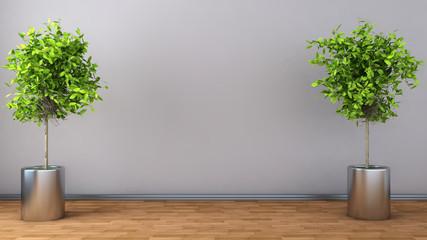 interior with plant. 3D illustration