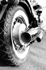 Close up shot of motorcycle exhaust pipes