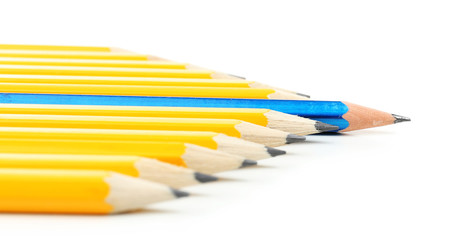 Individuality concept. Pencils isolated on white
