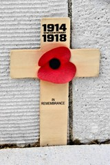 Cross with poppy commemorating the centennial of World War I