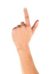 Man hand hold something isolated on white