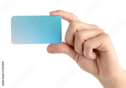canvas print picture Man hand hold card isolated on white