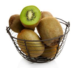 Juicy kiwi in basket isolated on white