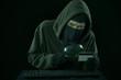 A man stealing credit card code
