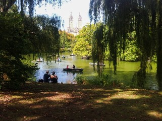Boats and couple in Central Park
