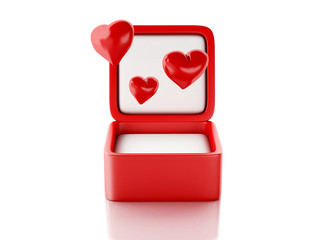 red hearts in a gift box. love concept. 3d illustration