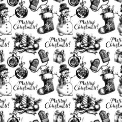Christmas seamless pattern. Happy New Year hand drawn