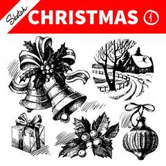 Hand drawn sketch winter Christmas set. Vector illustration