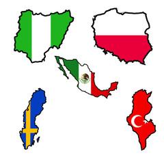 Map in colors of Nigeria,Poland,Mexico,Sweden,Tunisia
