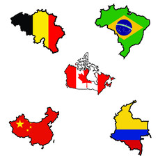 Map in colors of Belgium,Brazil,Canada,China,Colombia