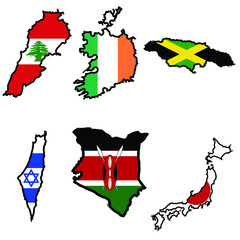 Map in colors of Ireland,Israel,Jamaica,Japan,Kenya,Lebanon