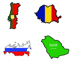 Map in colors of Portugal,Romania,Russia,Saudi Arabia