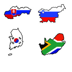 Map in colors of Slovakia,Slovenia,South Africa,South Korea