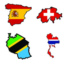 Map in colors of Spain,Switzerland,Tanzania,Thailand