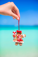 Christmas gingerbread man in hand against the turquoise sea