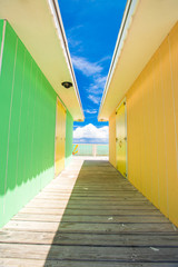 Bright colored houses on an exotic Caribbean island