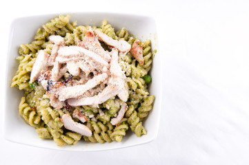 peas pesto with rotini and diced grilled chicken, a delicious he