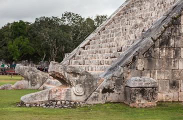 Serpent head stairway in El Castillo Pyramid, Chichen Itza, Mexi