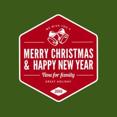Merry Christmas and Happy New Year type typography Retro