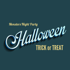 Halloween type calligraphic typography. Greeting Invitation card