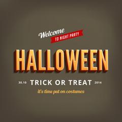 Halloween festival typography 3d vintage retro style
