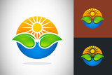 nature icon sun leaf water logo vector poster
