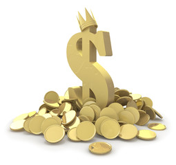 Pile of gold coins and dollar sign