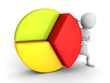white 3d person with colorful financial pie chart