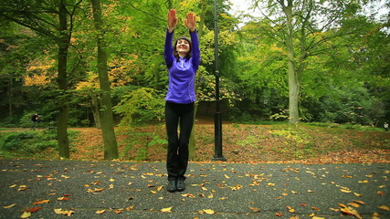 Fitness woman doing exercise outdoor