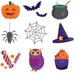 Halloween item collection icons, create by vector