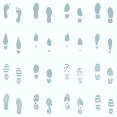 Vector Set of 16 Shoes Footprint  in the Snow