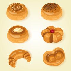 Set of sweet buns. Vector illustration
